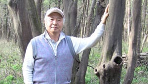 Ilchi Lee leaning against a tree in South Korea