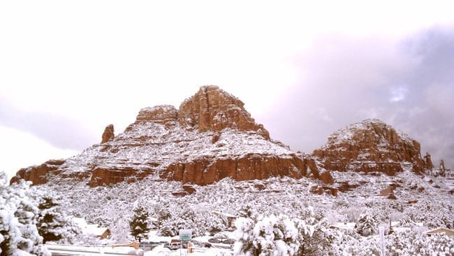 red rocks of Sedona with snow