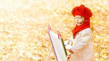 girl in red beret painting