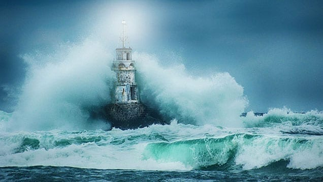 ship in a stormy ocean