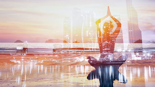 yoga in front of city background