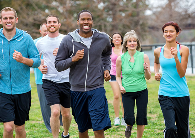 group of diverse people jogging
