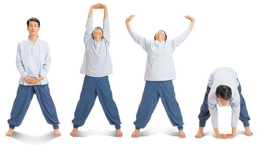 clasped hands and bend stretch