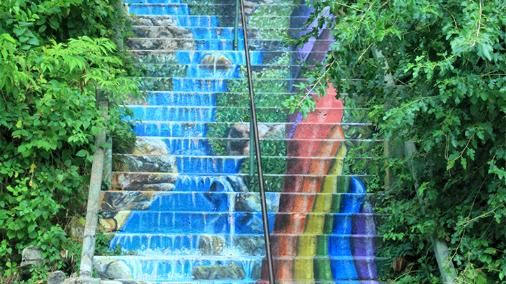 painted steps with rainbow