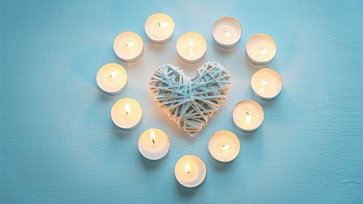 heart of tealight candles