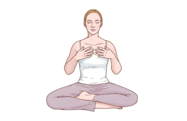 meditation with hands on chest