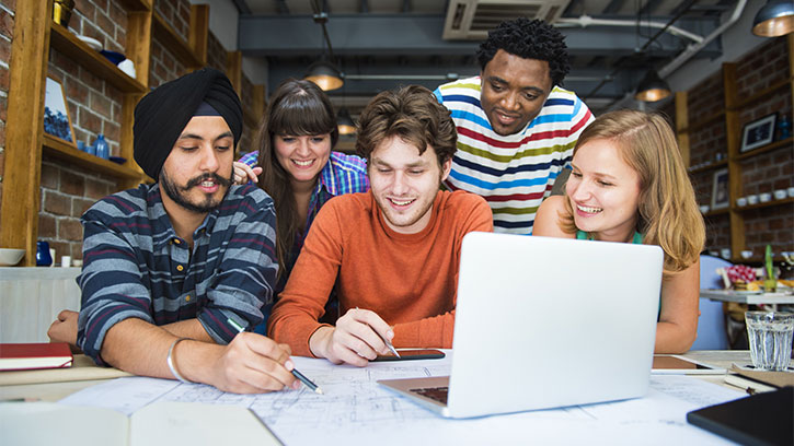 group of international students at computer